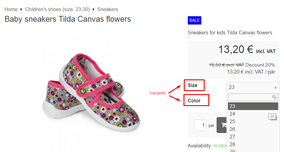 variant visibility on the product page