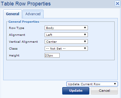 row properties