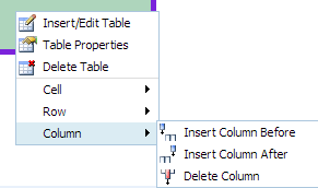 column properties