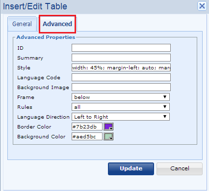 Advanced editing of table