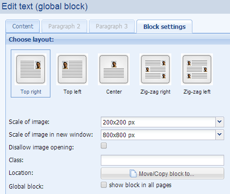 layout of pictures in text editor