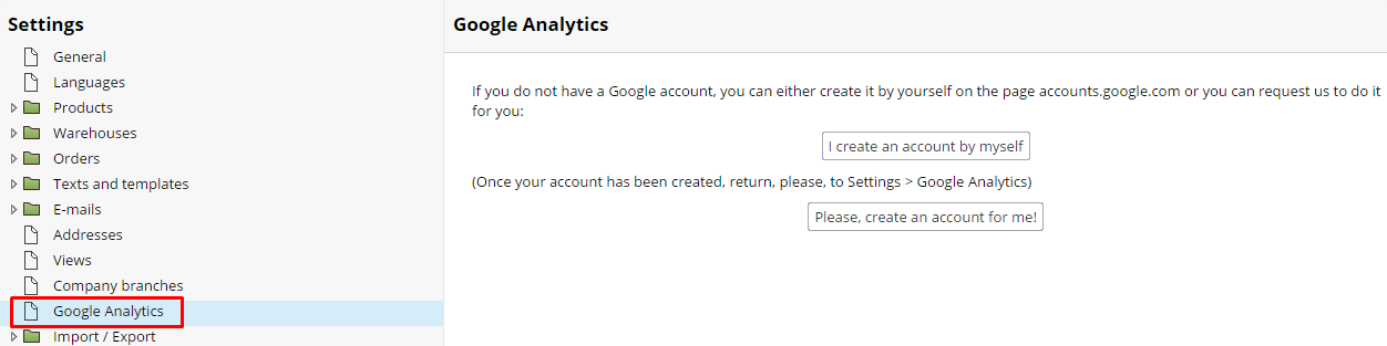 Google Analytics set up account