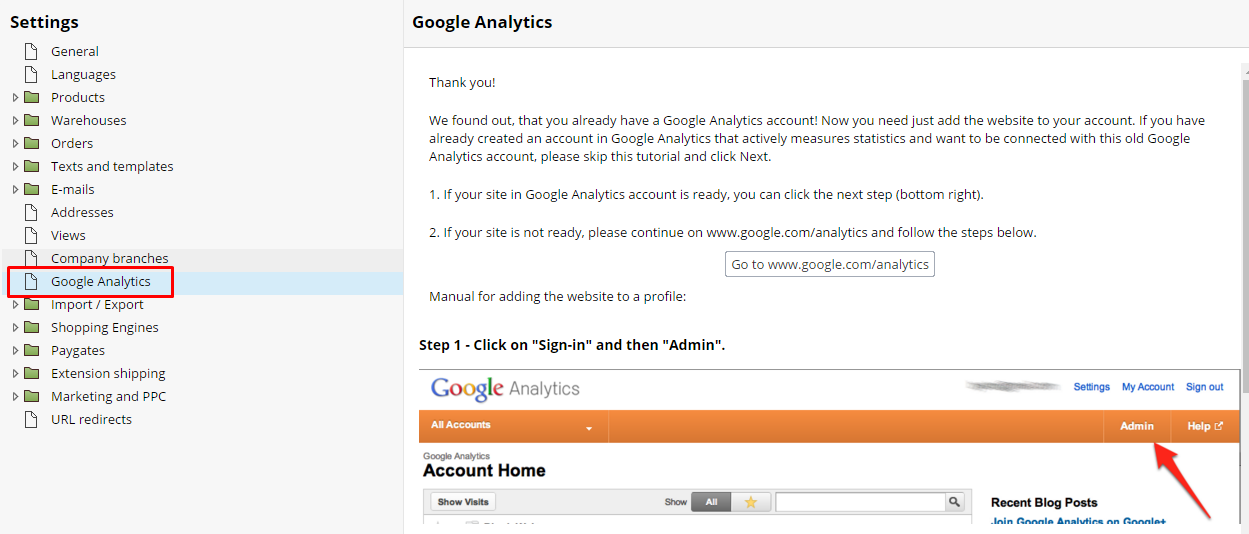 Google Analytics Add Account