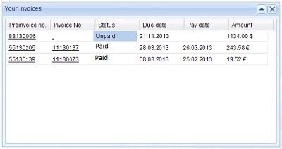 Invoices in website