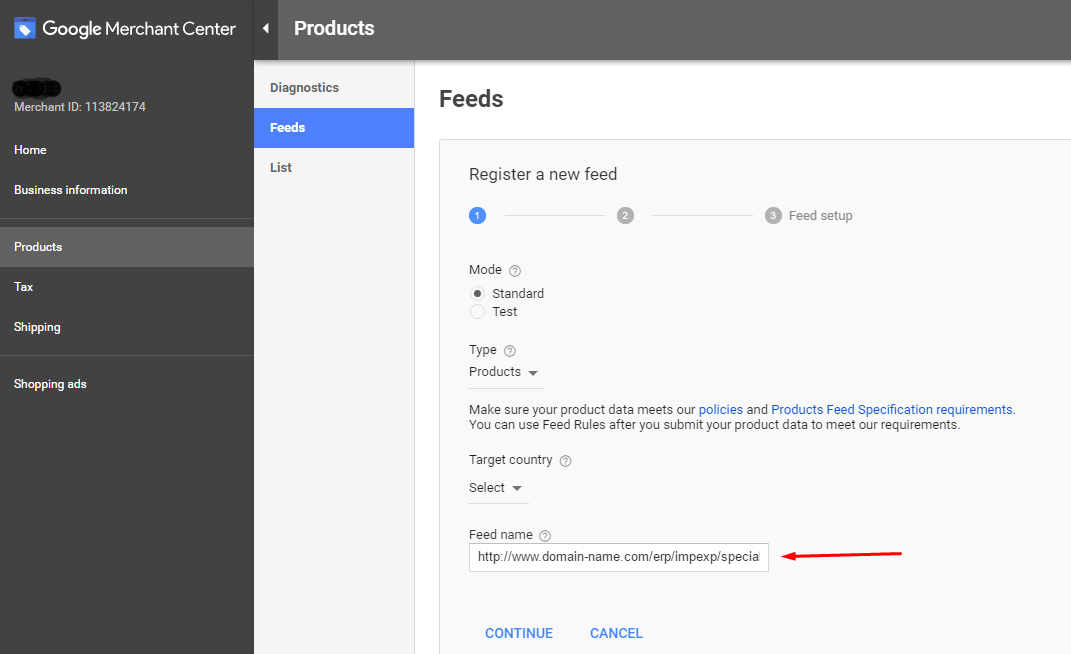 google merchant settings