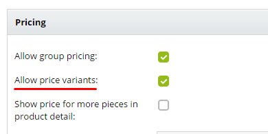 allow price variants