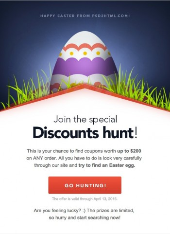 Email template Easter campaign