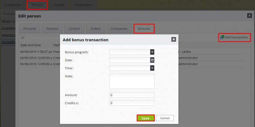 add transaction